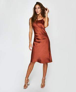 Metalicus Nala Straight Neck Slip Dress Rust