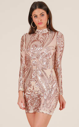 Showpo What A View dress in rose gold sequin