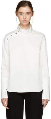 Nomia White Snap Collar Tunic Blouse
