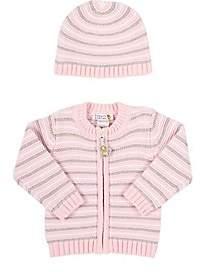 Barneys New York Infants' Striped Cardigan & Hat-Pink