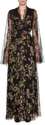 Giambattista Valli V-Neck Long-Sleeve Floral-Print Silk Evening Gown w/ Lace