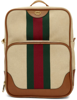 Gucci Beige Canvas Vintage Backpack
