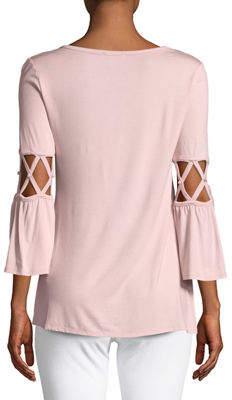 Neiman Marcus Cage-Sleeve Pearl-Accent Jersey Tunic