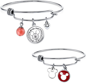 Disney 2-Pc. Set Mickey Mouse Mother and Child Bangle Bracelets with Cherry Quartz Bead in Silver Plated Brass $75 thestylecure.com