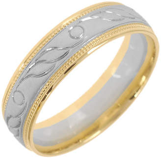 JCPenney MODERN BRIDE 10K Two-Tone Gold Womens Engraved Milgrain 5mm Wedding Band