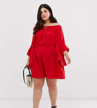 AX Paris Plus bardot fluted sleeve dress