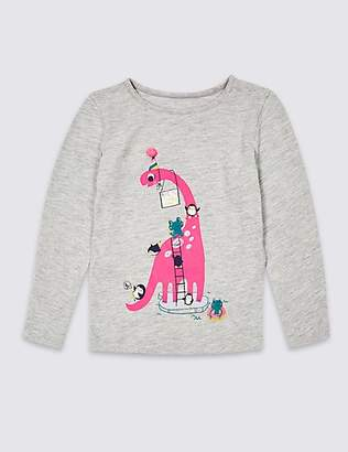 Marks and Spencer Cotton Rich Dinosaurs Top (3 Months - 7 Years)