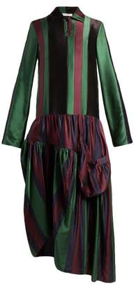 J.W.Anderson Striped Asymmetric Panel Silk Dress - Womens - Black Multi