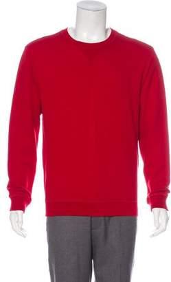Maison Margiela Leather Accented Crew Neck Sweater