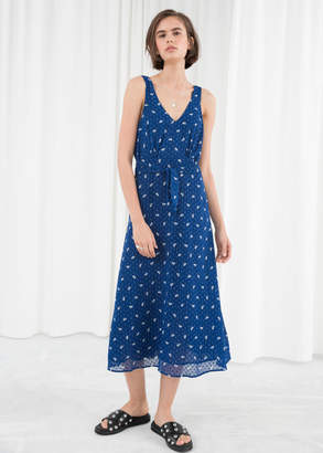 And other stories Printed Belted Midi Dress