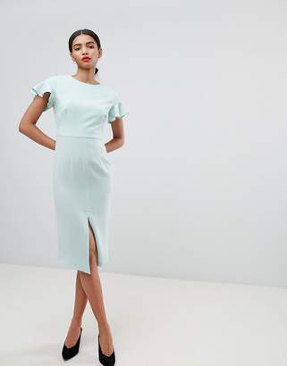 Asos DESIGN Midi Wiggle Dress With Fluted Sleeve