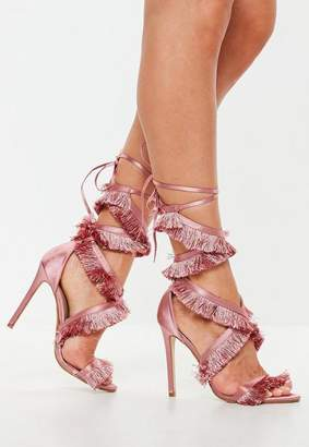 Missguided Pink Satin Tassle Lace Up Heeled Sandal
