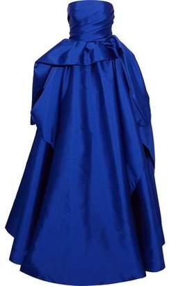 Reem Acra Strapless Draped Silk-Faille Gown