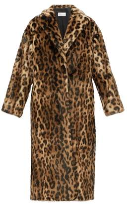 RED Valentino Ruffled Back Leopard Print Faux Fur Coat - Womens - Brown