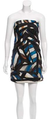 Christian Cota Strapless Silk-Tiered Dress