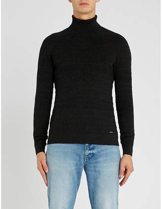 HUGO Turtleneck cotton and wool-blend jumper