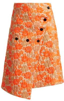 Jil Sander Fresia Floral Brocade Wrap Skirt - Womens - Orange Print