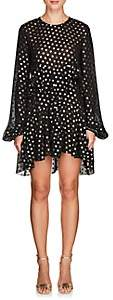Saint Laurent Women's Polka Dot Chiffon Peplum Dress - Black