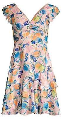 Saloni Women's Catia Peach Print A-Line Dress