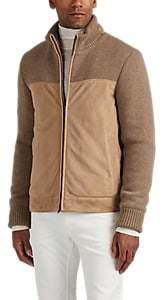Luciano Barbera Men's Suede & Wool Jacket - Beige, Tan