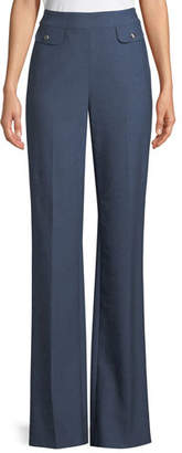 St. John Summer Bella Double Weave Flare-Leg Pants