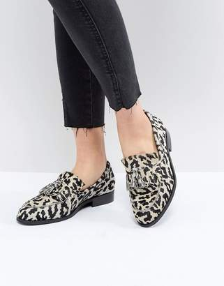 Asos Design DESIGN Maidia Leather Loafers in leopard print