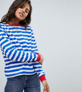 Asos Tall DESIGN Tall t-shirt with long sleeve in stripe with contrast collar and cuffs