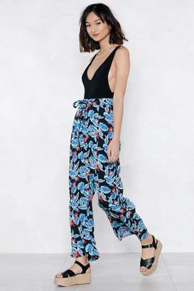 Nasty Gal Never Did No Palm Wide-Leg Pants