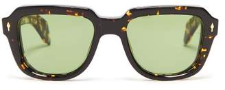 Jacques Marie Mage - Taos Rectangular Frame Acetate Sunglasses - Mens - Brown