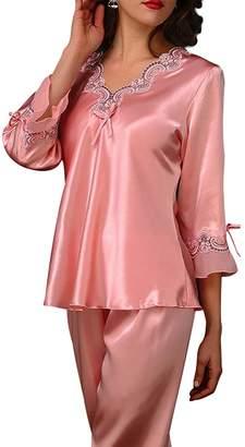 Aivtalk Women s Long Sleeve Satin Sleepwear Pajama Pants and Top Set - XL 7f1b656c3