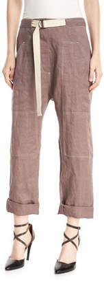 Brunello Cucinelli Straight-Leg Utility Denim Pants with Contrast Topstitching