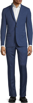 Neiman Marcus Slim Fit Super 120s Wool Twill Two-Button Two-Piece Suit, Blue