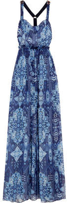 Matthew Williamson Inca Jewel Embellished Printed Silk-chiffon Gown - Blue