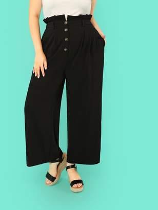 Shein Plus Frilled Waist Button Up Pants