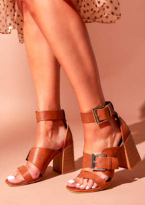 f76b2d74a2826 Missy Empire Averie Tan Faux Leather Strappy Buckle Heels