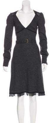 CNC Costume National Belted Wool Dress