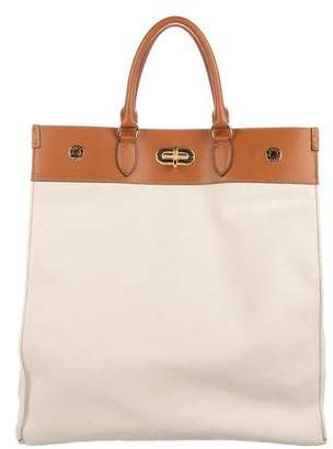 Ralph Lauren Leather-Trimmed Canvas Tote