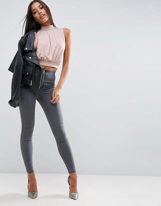 Asos Rivington High Waist Denim Jeans In Cara Grey