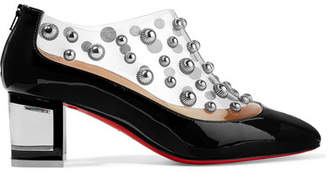 Christian Louboutin Space Odd 55 Studded Pvc And Patent-leather Ankle Boots - Black