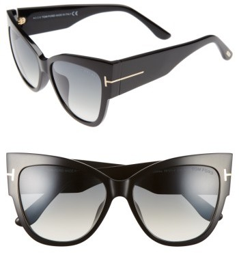 Women's Tom Ford Anoushka 57Mm Special Fit Butterfly Sunglasses - Black/ Gradient Grey Lenses