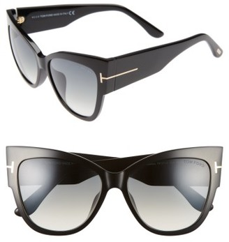 Women's Tom Ford Anoushka 57Mm Special Fit Butterfly Sunglasses - Black/ Gradient Grey Lenses $445 thestylecure.com