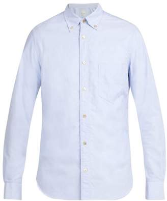 Paul Smith Single Cuff Striped Trim Cotton Shirt - Mens - Light Blue