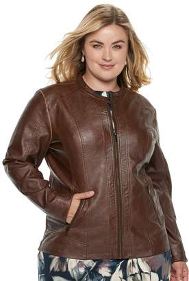 Moto Plus Size Sebby Collection Faux-Leather Jacket