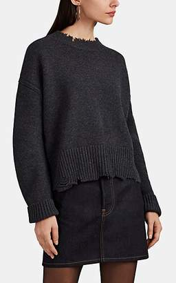 Helmut Lang Women's Distressed Wool-Cashmere Sweater - Dark Gray