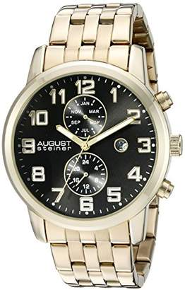 August Steiner Men's AS8175YGB Yellow Gold Multifunction Quartz Watch with Black Dial and Yellow Gold Bracelet