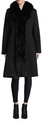 Sofia Cashmere Fur-Trim Tuxedo Coat