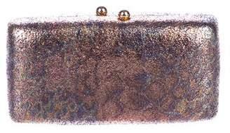 Halston Metallic Structured Clutch