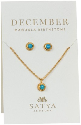 Satya Birthstone Necklace & Earrings Set, Goldtone Brass