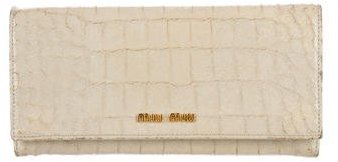 Miu Miu Miu Miu Embossed Patent Leather Wallet