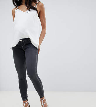 Asos Design Maternity Ridley High Waist Skinny Jeans In Washed Black With Contrast Stitch And Over The Bump Waistband